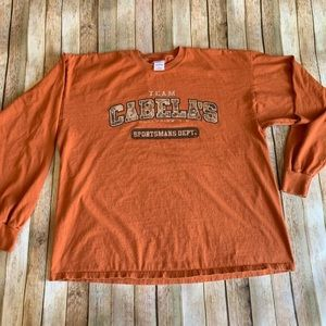 Cabelas graphic long sleeve 2XL men's orange tee